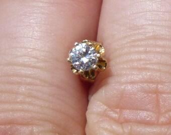 BEAUTIFUL   Single diamond earring 15 points  SI-2 F color  WOW
