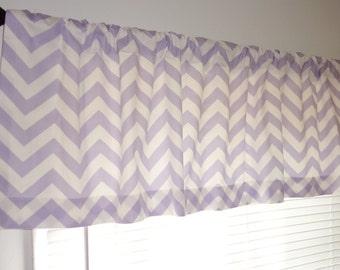 SALE Curtain Valance Topper Baby Nursery 52x15 Lavender & White Zig Zag Chevron Valance Baby Room