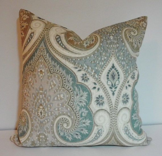 Kravet Latika Seafoam Green Grey Tan Linen Ikat Pillow Cover