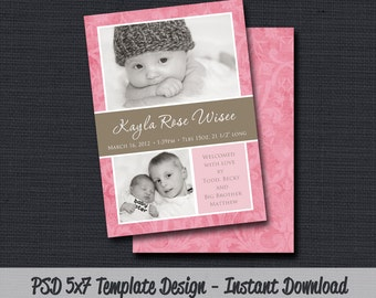 INSTANT DOWLOAD - Birth Announcement Template (Girl BA 19) Photographer Template