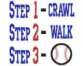 Step 1-2-3 - Baseball Applique - Machine Embroidery Design - 8 Sizes
