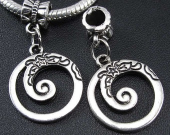 CIRCLE SPIRL Charm Dangle  Bead SpacerEuropean Charm Bracelets by WhitePineBeads