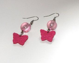 Pink butterfly felt drop earrings