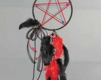 Black and red Wiccan pentragram dream catcher