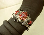 SPIDER Cuff Bracelet, Spider Jewelry, Mixed Media Beaded Spider Jewelry/Gothic/Red Vintage Rhinestone Brooch UpCycled into Spider Bracelet