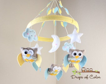 "Baby Crib Mobile - Baby Mobile - Owl Mobile ""Baby Owls in the Circle of Love"" Mobile - Nursery Mobile (You can pick your colors)"