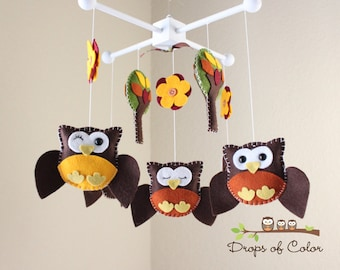 Baby Crib Mobile - Baby Mobile - Owl Mobile - Nursery Wood Forest Decoration Mobile - Neutral Ceiling Decor (You can pick your colors)