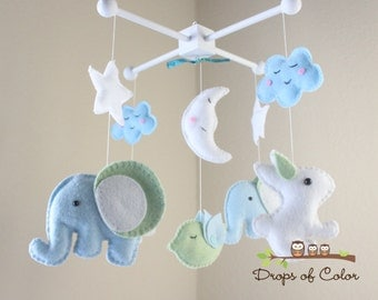 """Baby Crib Mobile - Baby Mobile - Baby Nursery Mobile - Elephant Mobile - Nursery Decor """"Elephans and Bunnies"""" (You can pick your colors)"""