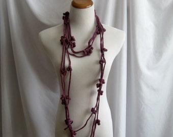Cashmere Crochet Chain Flower Necklace - Plum - In Cashmere & Merino Blend