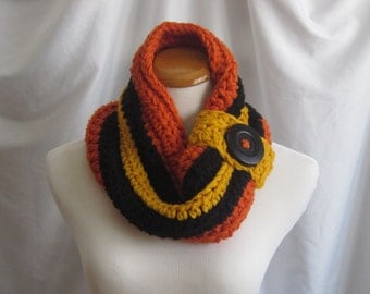 Cowl Neckwarmer Chunky Bulky Button Crochet Cowl:  Burnt Orange, Black & Golden Yellow with Button