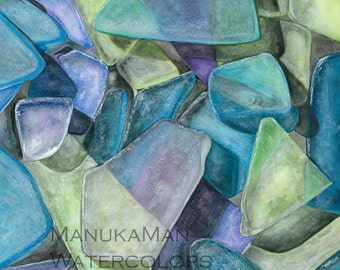 Cape Cod Seaglass Study Number 2. Watercolor by Damon Crook. Signed Print (11x14)