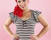 Pinky Pinups Black/White Striped Ruffle Top