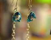 Blue Rose Earrings with Dangle Chain Embellishments