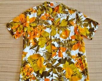 Mens Vintage 70s Royal Hawaiian Bark Cloth Tiki Surf Hawaiian Shirt - L - The Hana Shirt Co