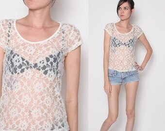 Vintage 90s Cream Lace Peek a boo Shirt / S