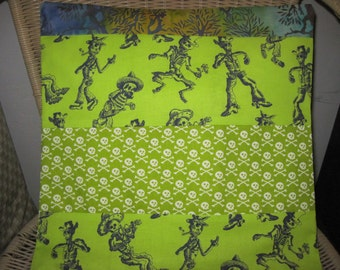 "14"" x 14"" Home Decor Cotton PILLOW COVER- Southwest Skeletons with White Silhouette Pirate Skull and Crossbones Lime Greens"