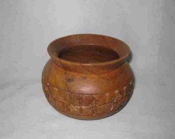 "Neat Vintage 4"" MONKEY POD Wood Bowl/Vase"