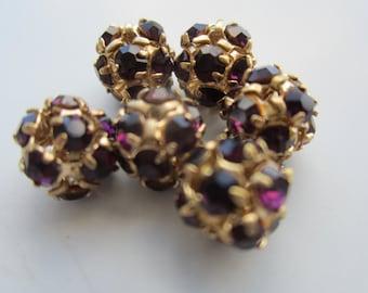 8mm Amethyst And Gold Rhinestone Ball Beads 6Pcs.