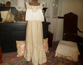 Victorian Clothes , Antique Undergarments , Camisole , Linen Slip Skirt