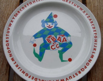Arabia Finland Child's Children's plate, jester or clown, alphabet , collectible, mid century