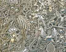 30pc Assorted Antiqued Silver Charms, Pendants, Jumprings, Beads, Spacers, Connectors and More Jewelry Finding Parts Jewelry Making Supplies