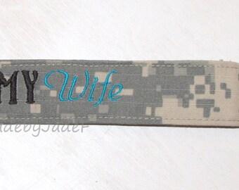 ARMY Wife black and blue Lanyard / ACU / Custom / Embroidered