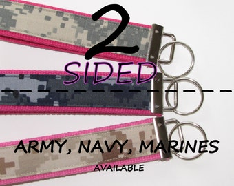Name Tape Key Chain 2-Sided Any Branch of the Military