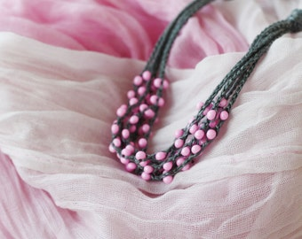 Pink grey necklace Natural linen necklace with glass beads Linen jewelry Gift for her Multi strand necklace