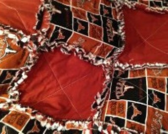 Texas Longhorns rag quilt