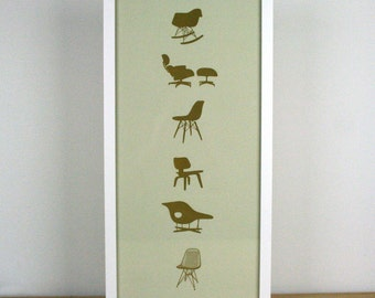 Eames Chairs Letterpress Print - Limited Edition - 9 x 20
