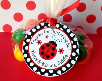 12 Ladybug Birthday Party Favor Tags in Red and Black