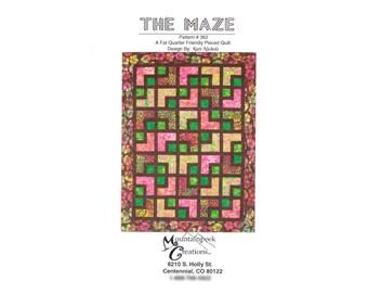 "The Maze Quilt Pattern No 362 Mountainpeek Creations Fat Quarter & Batik Friendly Sizes 47""x56"" 56""x74"" 56""x74"" 74""x92"" 92""x110"" 110""x119"""