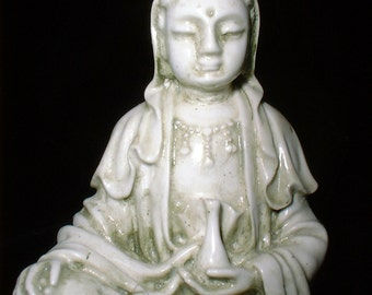 Delicately Detailed Quan Yin Statue in Mossy Stone Finish a Travel Buddha