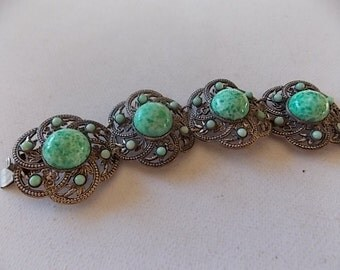 Vintage Peking Glass Filigree Silver Bracelet