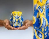 Carved candle - Blue and yellow candle