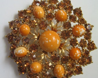 VINTAGE HUGE WEISS Rhinestone Brooch, Speckled Easter Egg Amber Brooch