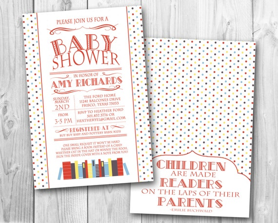 book themed baby shower invitation primary colors printable file