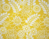 "Stencil Floral in Mustard and White by Dear Stella, 45"" wide, 1 yard"
