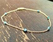 Blue Diamond Bracelet Yellow Gold Jewelry Chain Jewellery Dainty Luxe Elegant