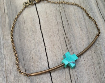 Turquoise Bracelet - Brass Jewelry - Cross Jewellery - Simple - Everyday - Fashion - Chain