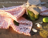 Linen Tea Towel. Kitchen Check Dish Cloth. Natural, Durable, Simple and Rustic. Made to Order