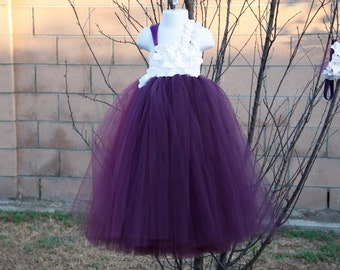 Flower girl dress. Eggplant ,Plum White tutu dress,Plum flower girls dress.Clothing. baby tutu dress, toddler tutu dress, wedding, birthday,