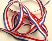 """5/8"""" Grosgrain Ribbon - Red White and Blue Stripe - 3 yards"""