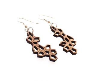 SALE eco friendly geometric earrings - Bamboo Irregular Honeycomb Earrings - 1 ply. modern nature inspired jewelry.