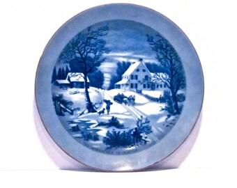Vintage Christmas Plate - Homestead in Winter