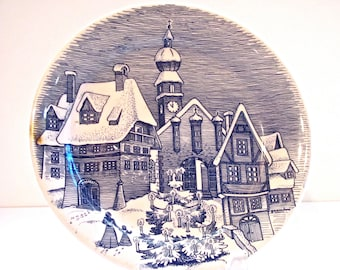 Vintage Blue and White Christmas Plate