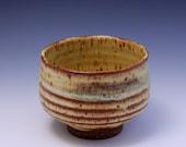 Wheel-thrown stoneware Tea Bowl / Chawan with Yellow/Brown Glaze by Hsinchuen Lin