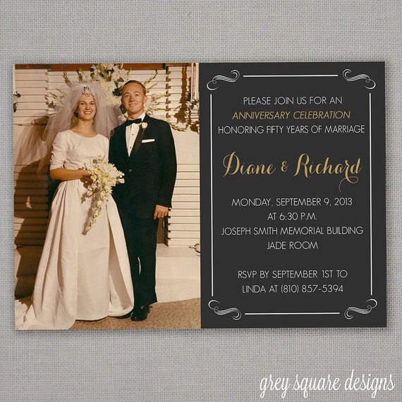 50th wedding anniversary invitation by greysquare on etsy