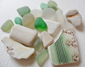 Green & cream sea glass and beach pottery mix - 20 lovely English beach finds