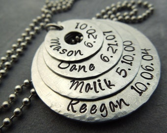 personalized 4 washer necklace, mothers necklace, hand stamped, hammered and brushed stainless steel